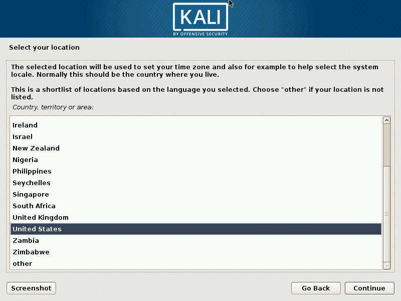 Installing Kali Linux on VirtualBox – select your location