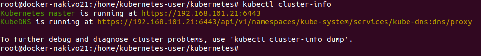 Installing Kubernetes on Ubuntu – viewing the cluster info