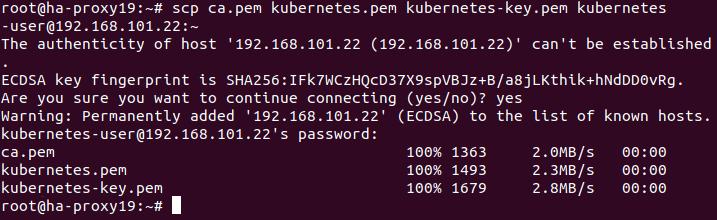 Installing Kubernetes on Ubuntu in the HA mode – copying a certificate to each Ubuntu node