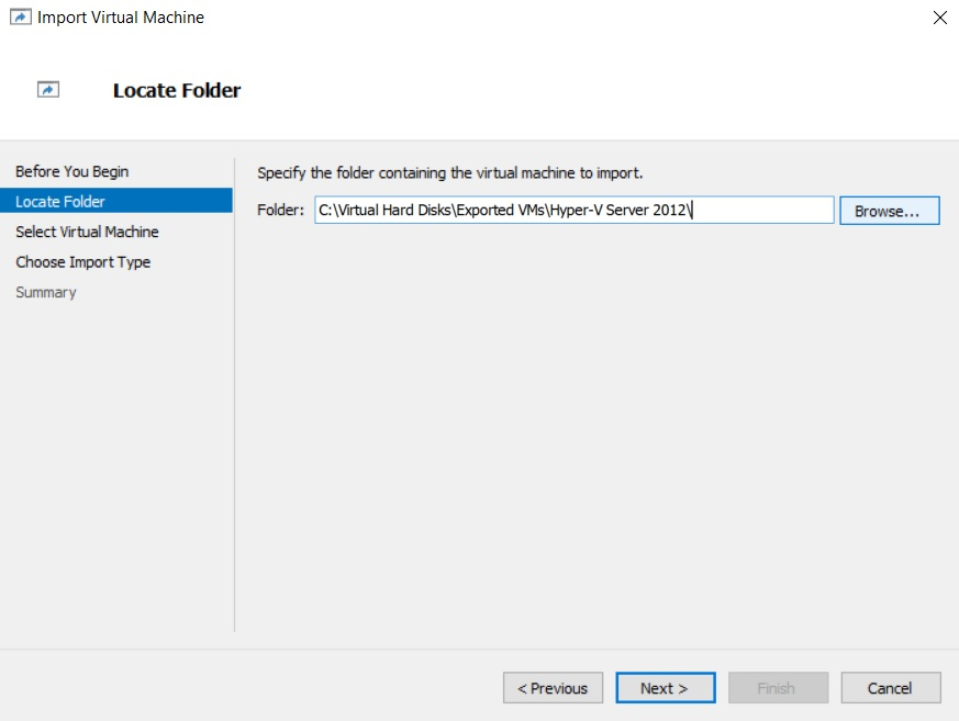 Locate Folder (How to Import Hyper-V VMs)
