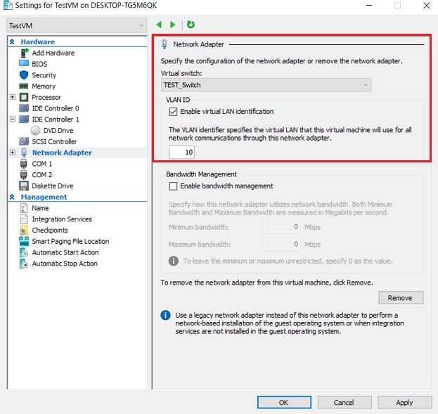 Network Adapter Settings (Hyper-V VLANs)