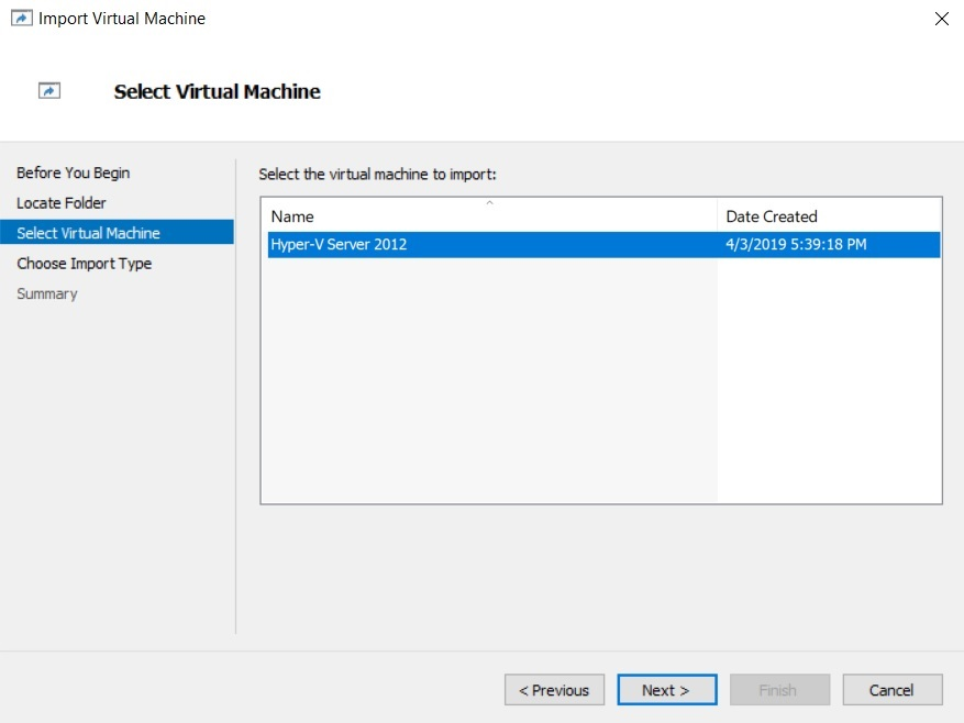 Select Virtual Machine (How to Import Hyper-V VMs)