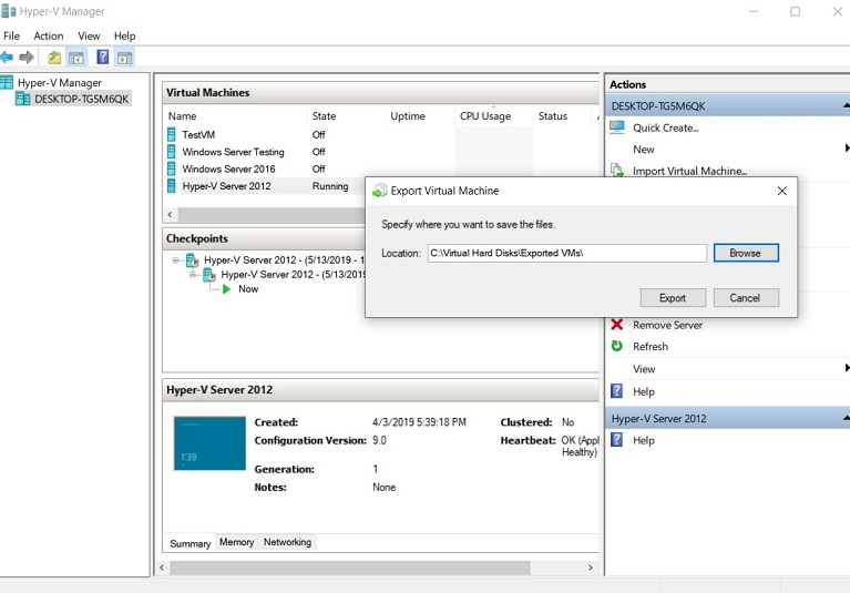 Specify the New Location (How to Export Hyper-V VMs)
