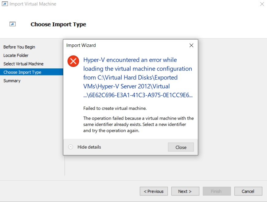 The Same ID Error (How to Export Hyper-V VMs)