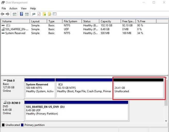 Unallocated Space (Hyper-V Shrink VHD)