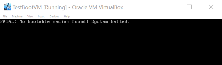 VirtualBox - No bootable medium found! System Halted