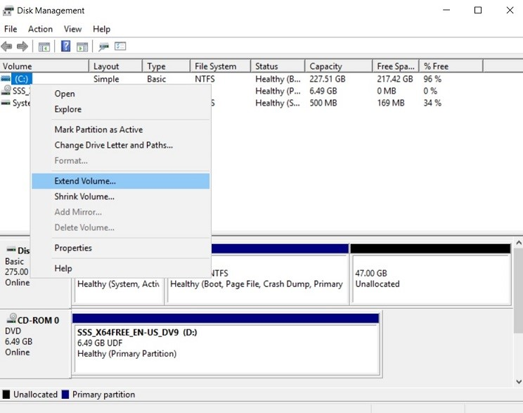 Extend Volume (Increase Disk Size in Hyper-V)