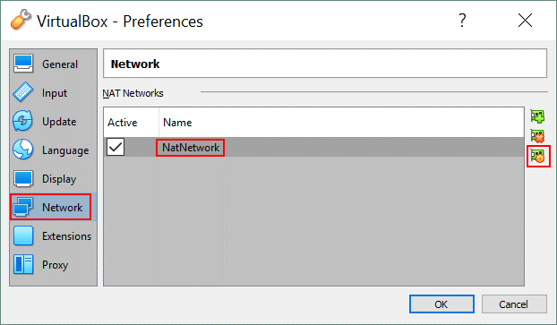 Global VirtualBox network settings – editing the settings of the NAT Network