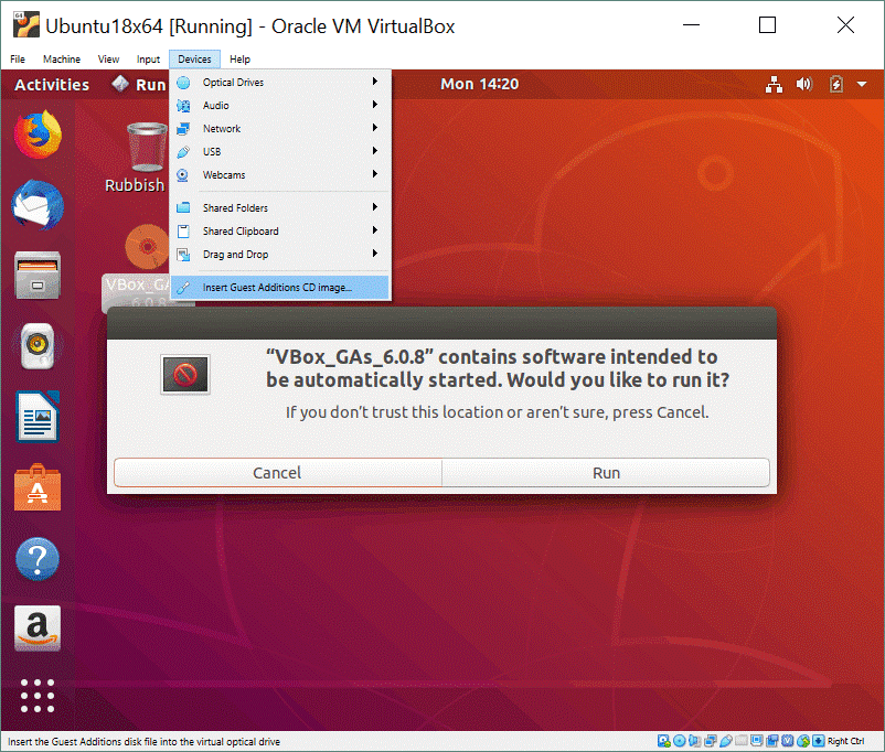 How to install Ubuntu on VirtualBox – installing VirtualBox Guest Additions