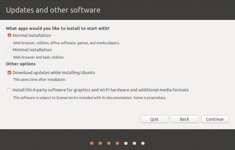 How to install Ubuntu on VirtualBox – selecting Linux updates and other software