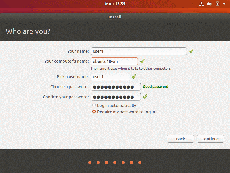 How to install Ubuntu on VirtualBox – setting up user credentials