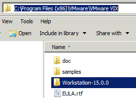 Renaming the Workstation subfolder in the VMware VIX folder to use the CLI for VMware Player