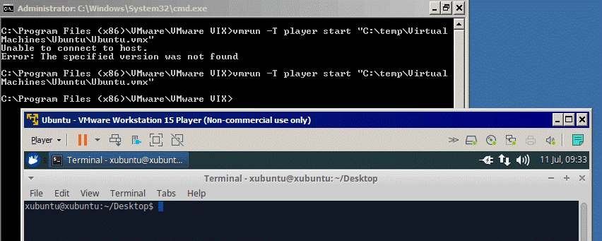 Starting a VM in VMware Player by using vmrun