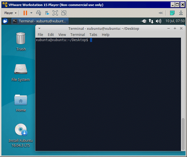 The Xubuntu VM is running on VMware Player 15