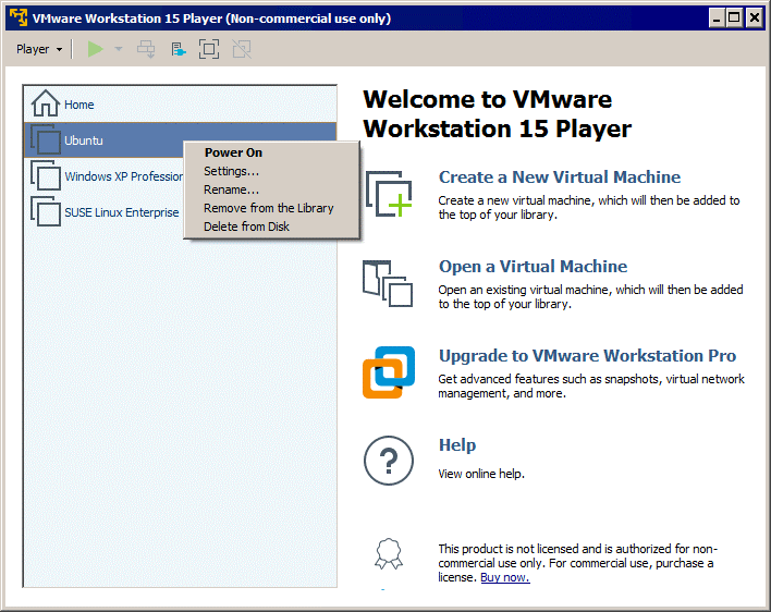 The graphical user interface of VMware Player