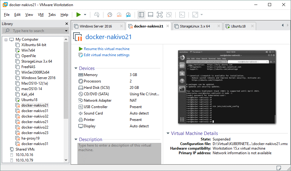 The graphical user interface of VMware Workstation Pro