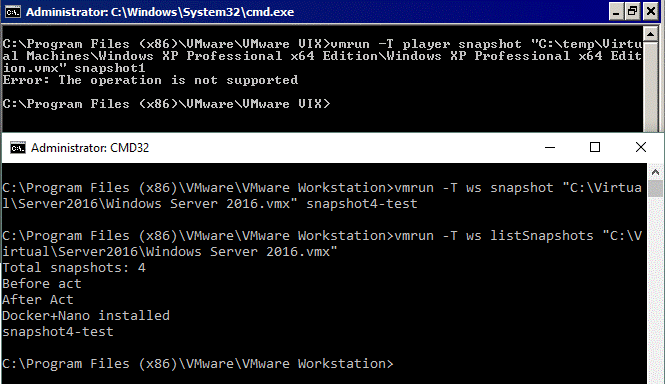 VMware Workstation Pro vs Player – snapshots are not available in VMware Player if using the CLI