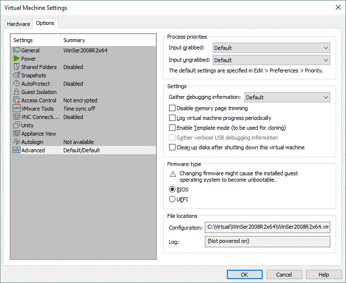 Virtual machine settings in VMware Workstation Pro