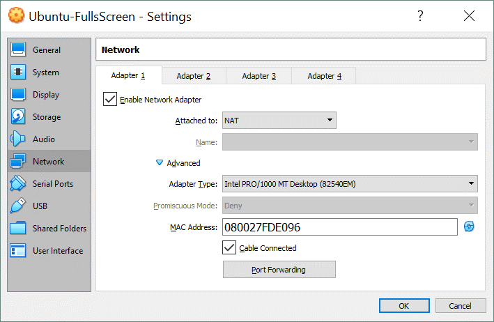 VirtualBox Network Settings for Adapter 1