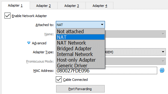 VirtualBox network settings – selecting a network mode for the virtual network adapter