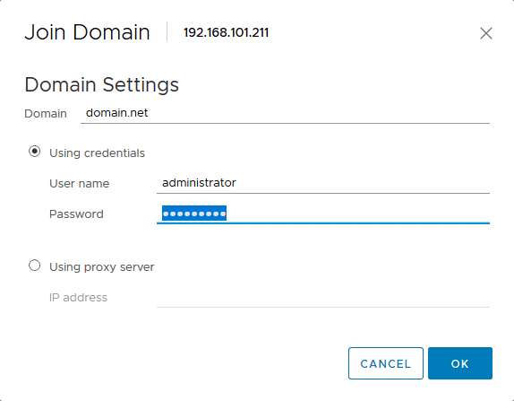 Adding an ESXi host to a domain.