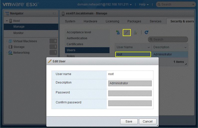 Changing an ESXi password for root after logging in with domain credentials.