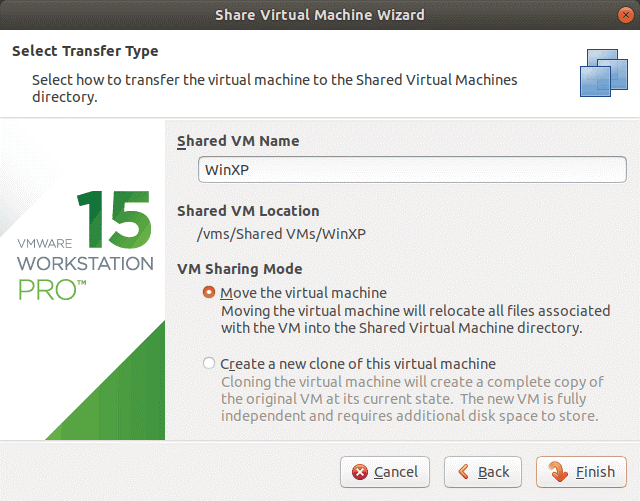 Choosing the transfer type for the VM to be shared on VMware Workstation Server.