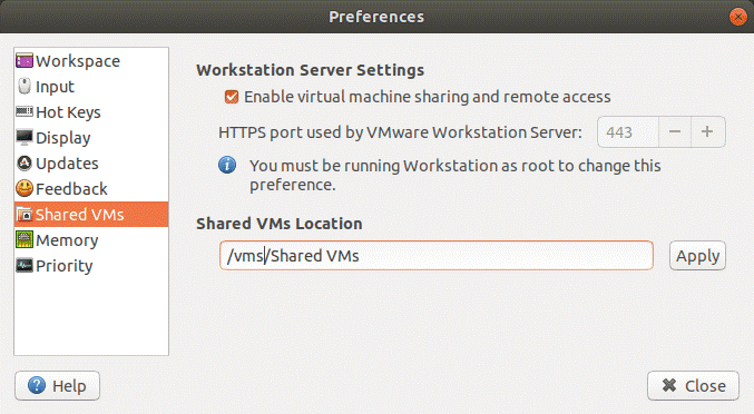 Configuring Shared VMs location for VMware Workstation Server.