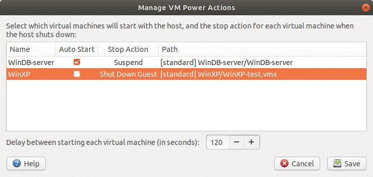 Configuring the auto start of VMs on VMware Workstation Server.