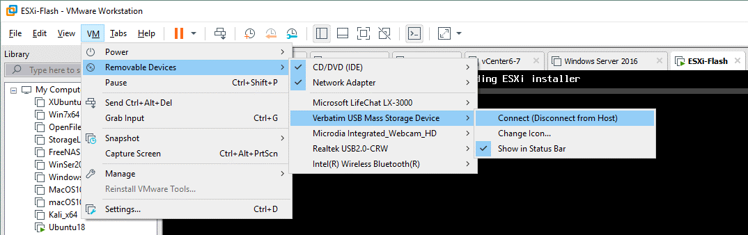 Connect a USB flash drive to a VM and run ESXi from a USB device