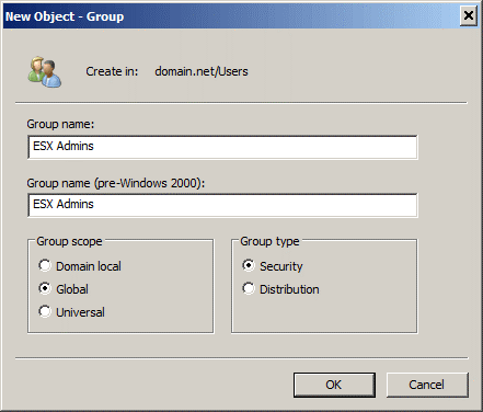 Creating the ESX Admins group in Active Directory for authentication without using an ESXi password and login.