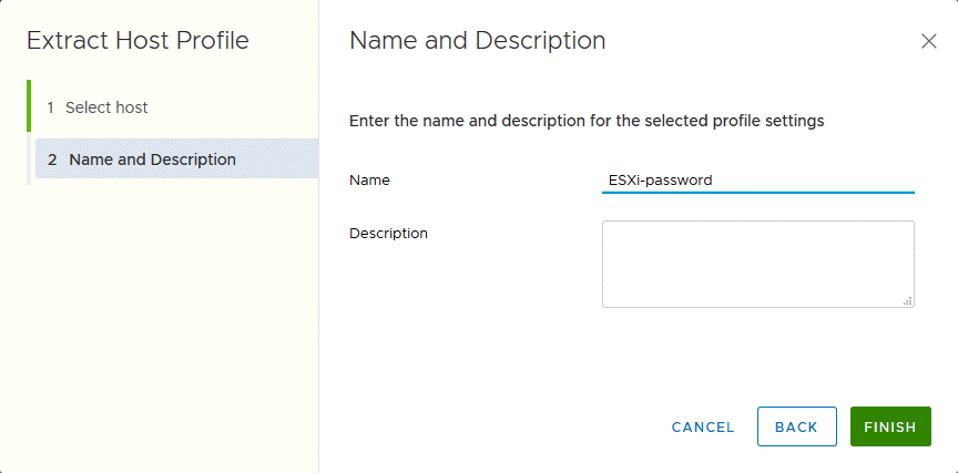 Entering a name for a host profile used to reset an ESXi password.