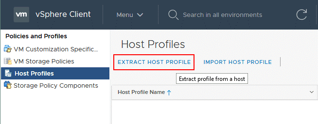 Extracting a host profile to reset a forgotten ESXi password.