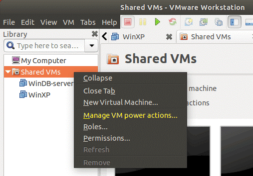 Managing VM power actions on VMware Workstation Server.