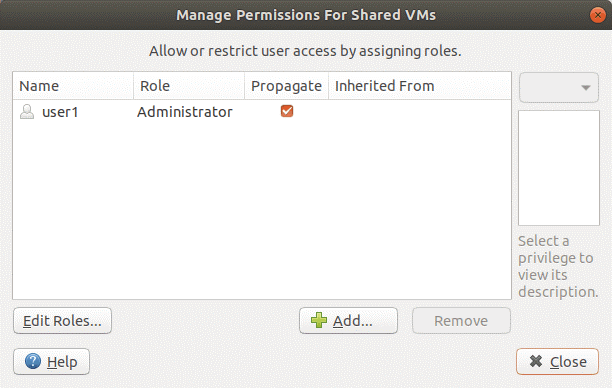Managing permissions on VMware Workstation Server.