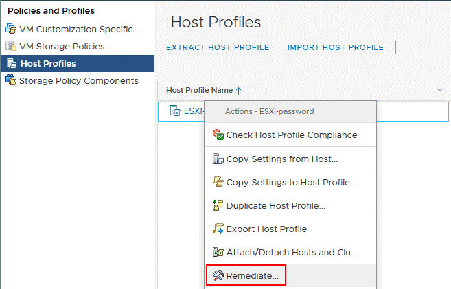 Remediate the ESXi host with the host profile that contains new ESXi password settings.