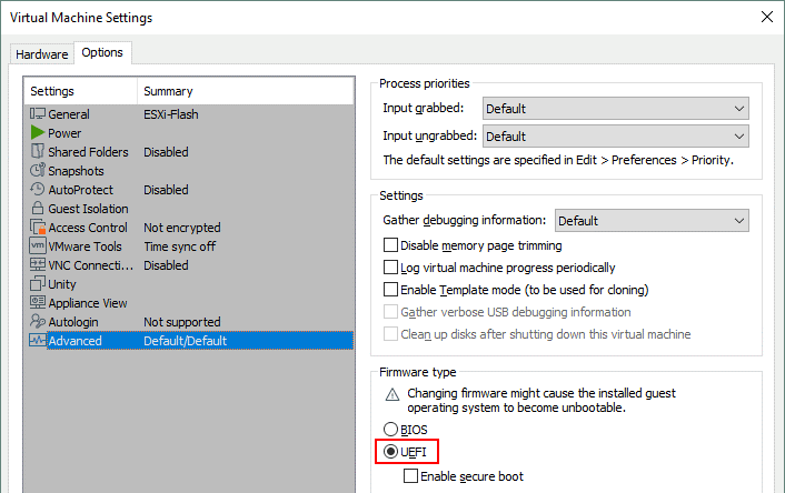 Select UEFI in the VM settings before you run ESXi from a USB flash drive