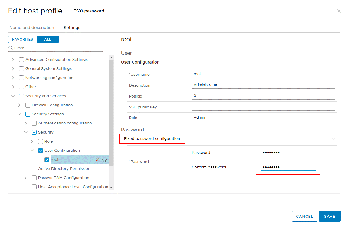 Setting a new ESXi password for the root user in the VMware host profile.