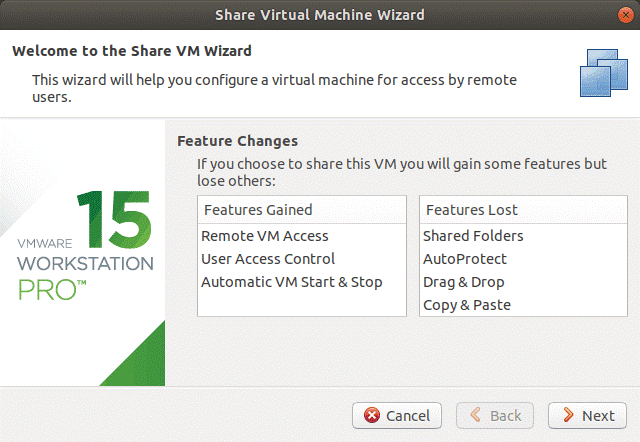 Share VMs Wizard on VMware Workstation Server.