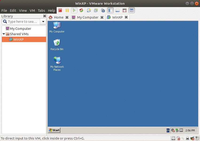 The VM is shared on VMware Workstation Server.