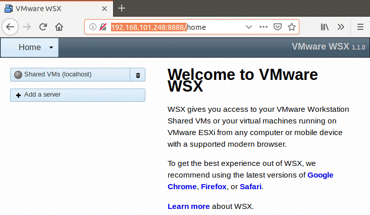 The web interface of VMware WSX.