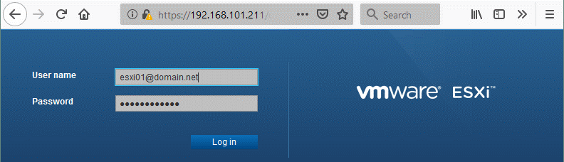 Using domain credentials instead of ESXi password and login for authentication in ESXi.