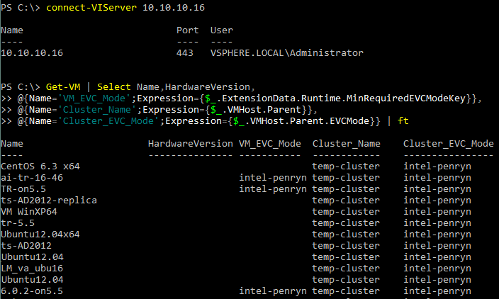 Checking the EVC mode configuration by using PowerCLI
