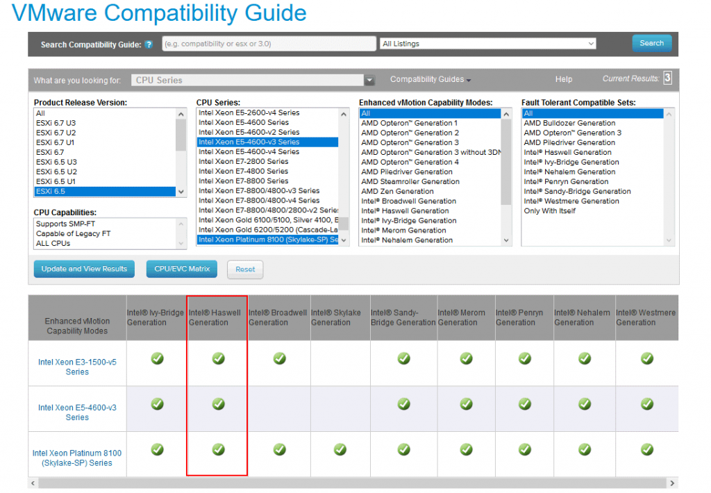 Checking the best suitable EVC mode in the VMware Compatibility Guide