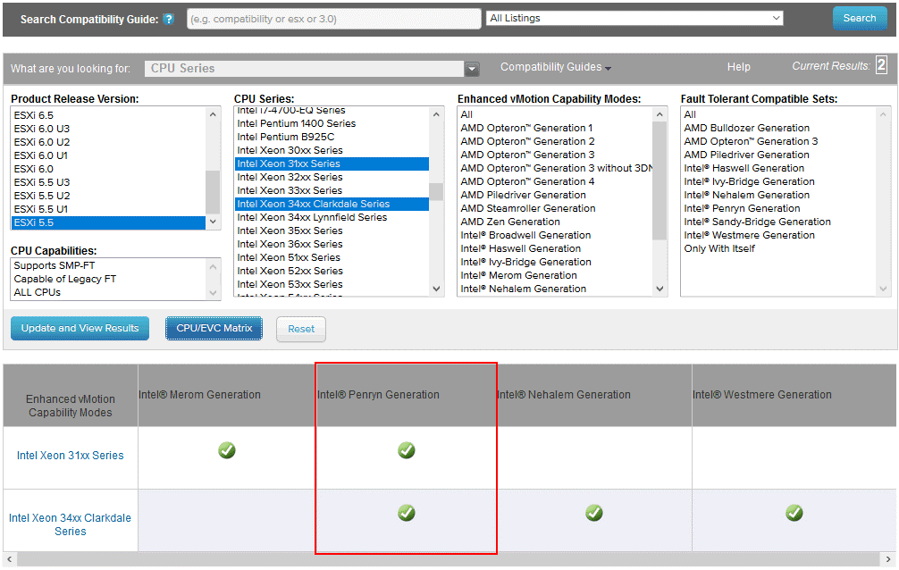 Checking the compatibility matrix with VMware Compatibility Guide before enabling the EVC mode
