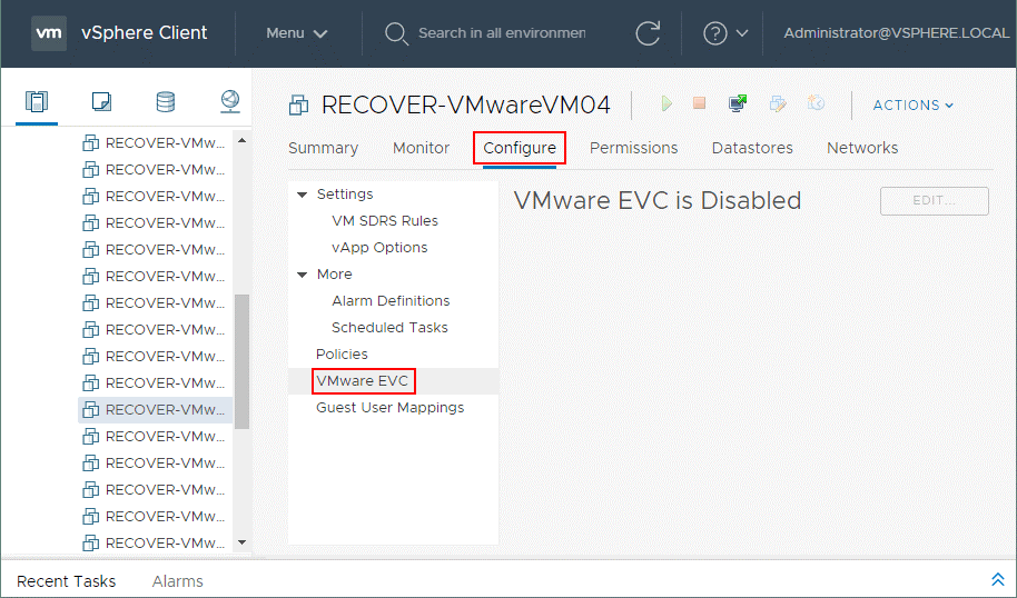Configuring the per VM EVC mode in the VM settings