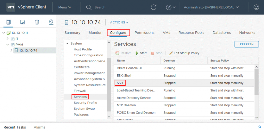 Enabling remote access to the ESXi shell in VMware vSphere Client