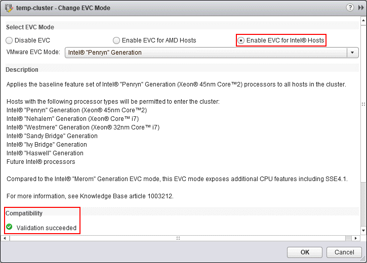 Enabling the EVC mode and passing the compatibility validation