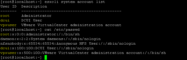 Using ESXi shell commands to list existing system users
