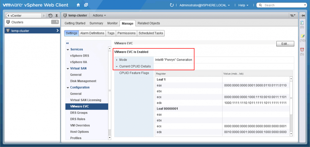 VMware EVC mode is enabled for the entire cluster in vCenter